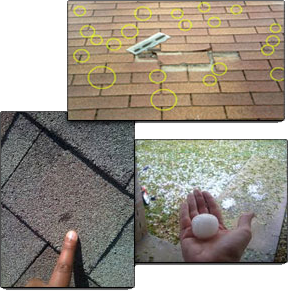 Signs of storm damage on an asphalt shingle roof.